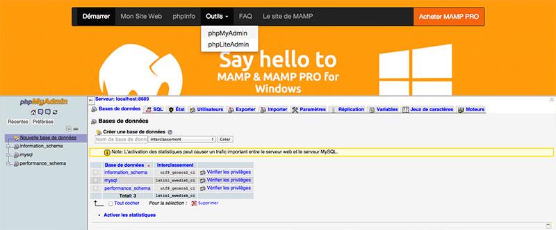 Création d'une base de données via Mamp