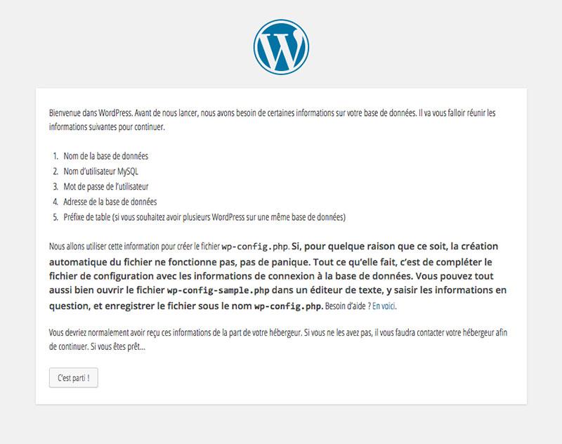 Etape 1 de l'installation de WordPress