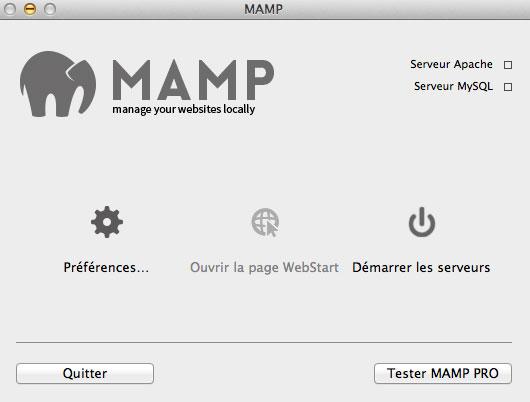 Démarrer les serveurs sous Mamp