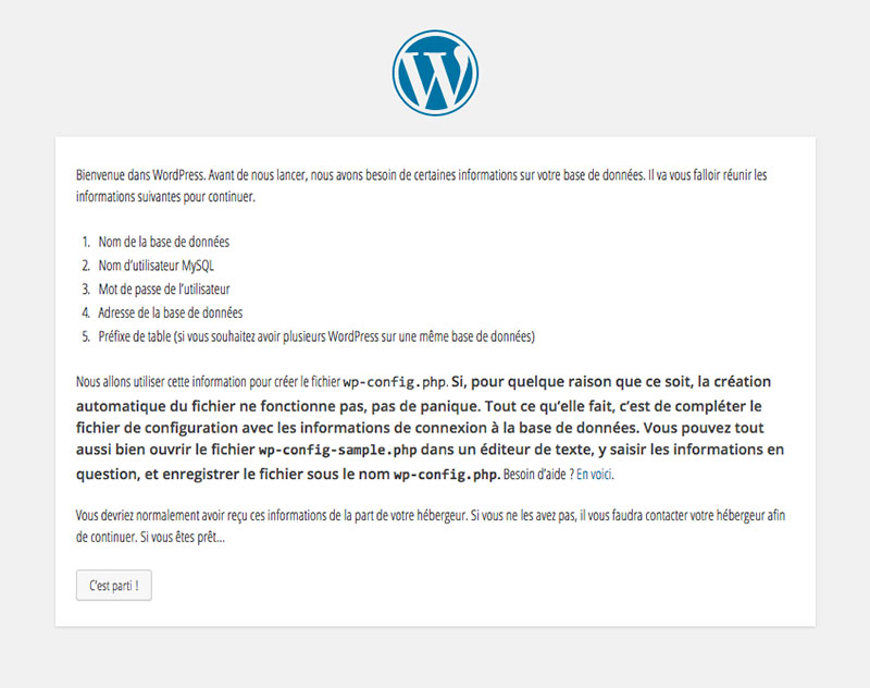 Etape 1 de l'installation de WordPress