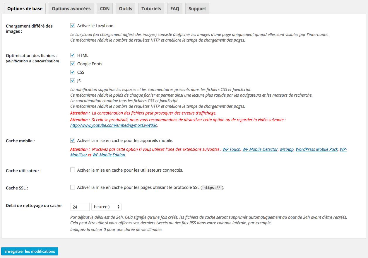 Configuration du Plugin Wp super cache pour WordPress