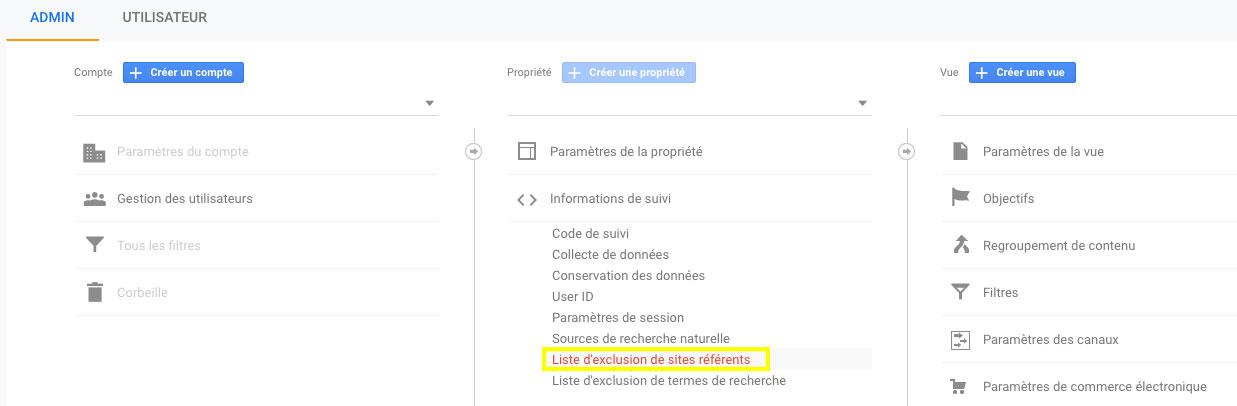 Paramètres pour exclure des sites référents dans Google Analytics