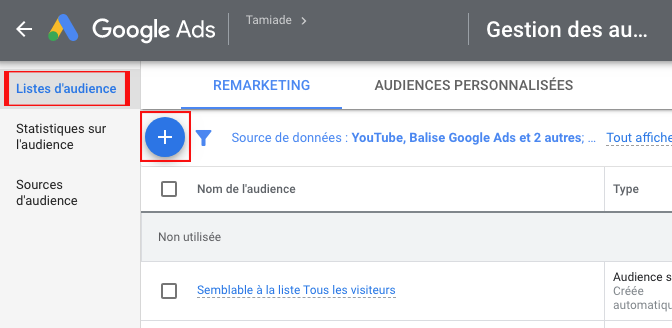 Ajout audience google ads