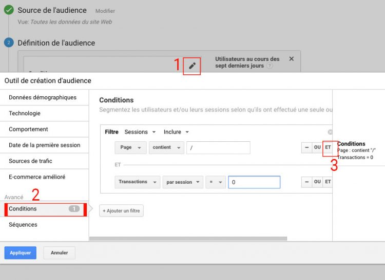Conditions d'audience sous Google Analytics