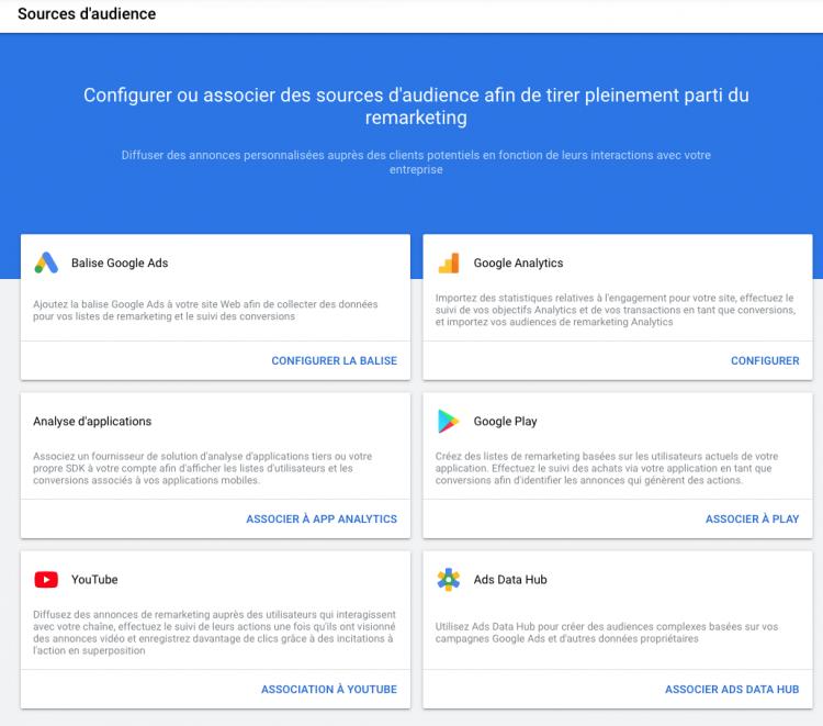 Activation du remarketing via Google Ads