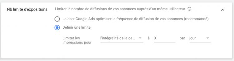 Configuration du nombre limite d'expositions d'une annonce auprès d'un même utilisateur sous google ads