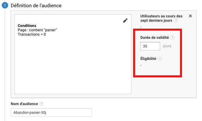 Configuration de la durée de validité d'une audience